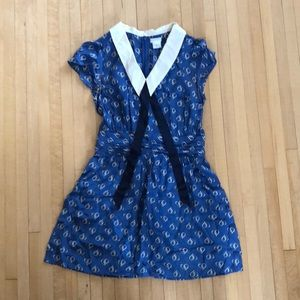 Silk Sailor Dress UO Collar Tie Blue